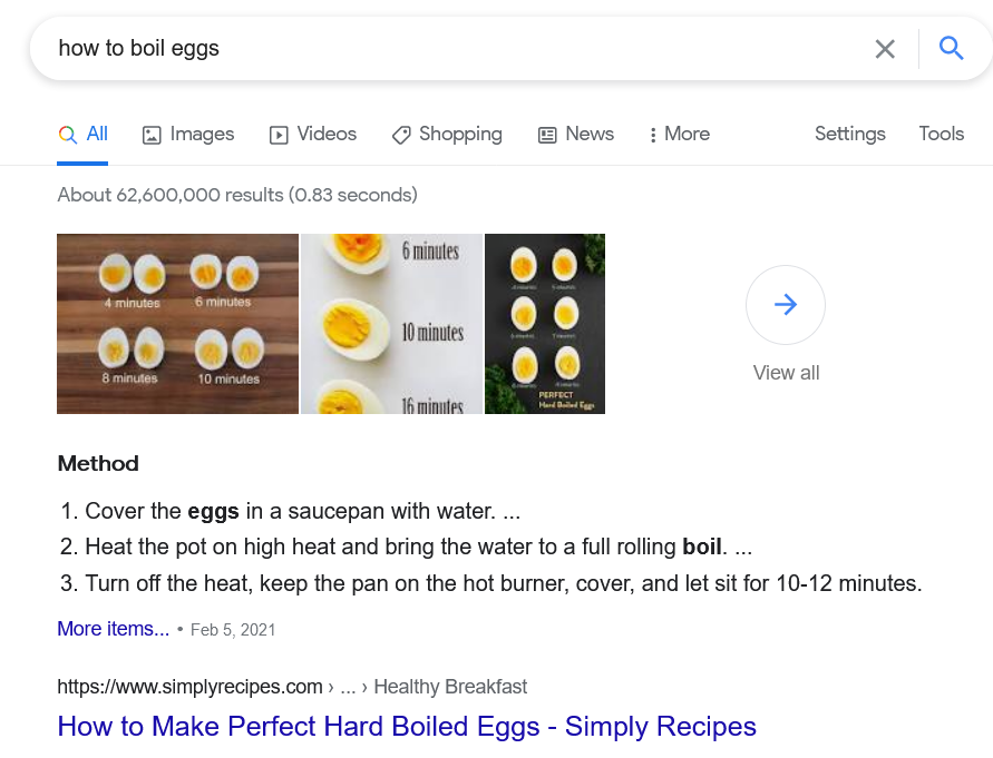 direct answer how to boil eggs