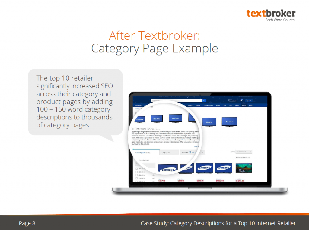 Textboker case study with category description